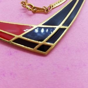 Vintage Avon Red and Blue Enamel Necklace